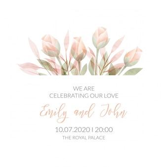 Tarjeta de invitación floral marco acuarela