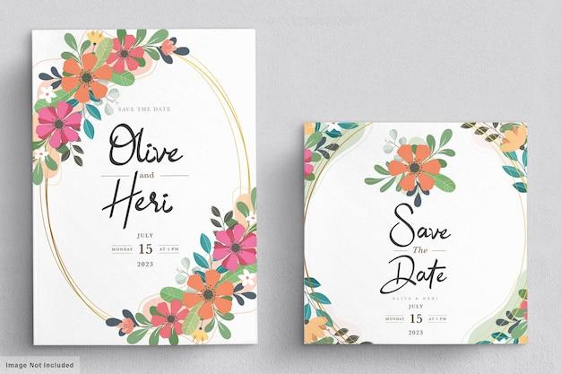Tarjeta de invitación floral plana abstracta