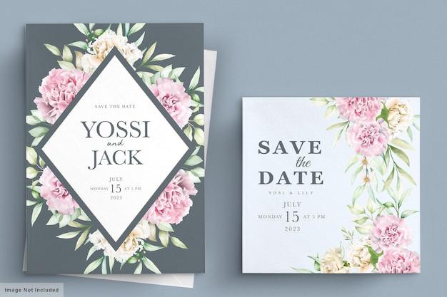 Tarjeta de invitación de flores de clavel