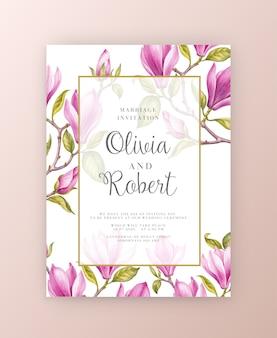 Tarjeta de invitación de flores de magnolia rosa.