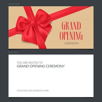 Tarjeta de invitación de gran inauguración. diseño de invitación de plantilla para ceremonia de apertura con texto
