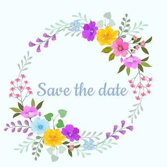 Tarjeta de invitación de guirnalda de flores hermosas.