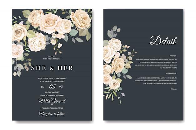 Tarjeta de invitación con hermosa plantilla floral