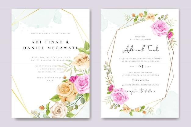 Tarjeta de invitación con hermosa plantilla de rosas amarillas y rosadas