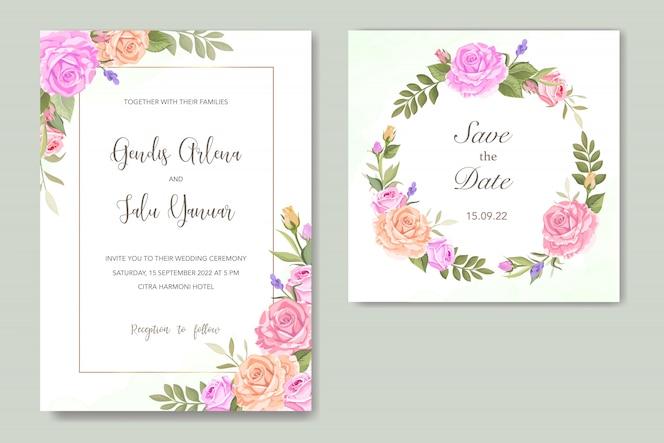 Tarjeta de invitación con hermosas flores y hojas