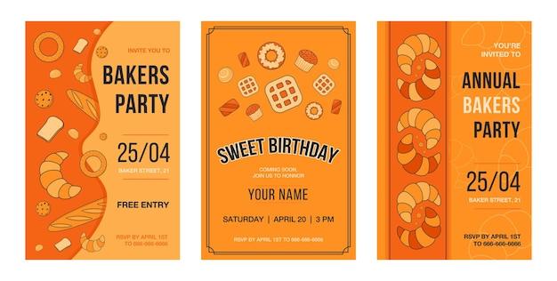 Tarjeta de invitación con hornear. ilustraciones de pastelería y pan con texto, hora y fecha sobre fondo naranja.