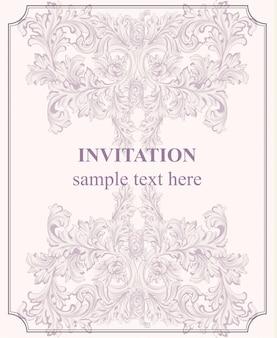 Tarjeta de invitación de lujo. ornamento real del patrón victoriano