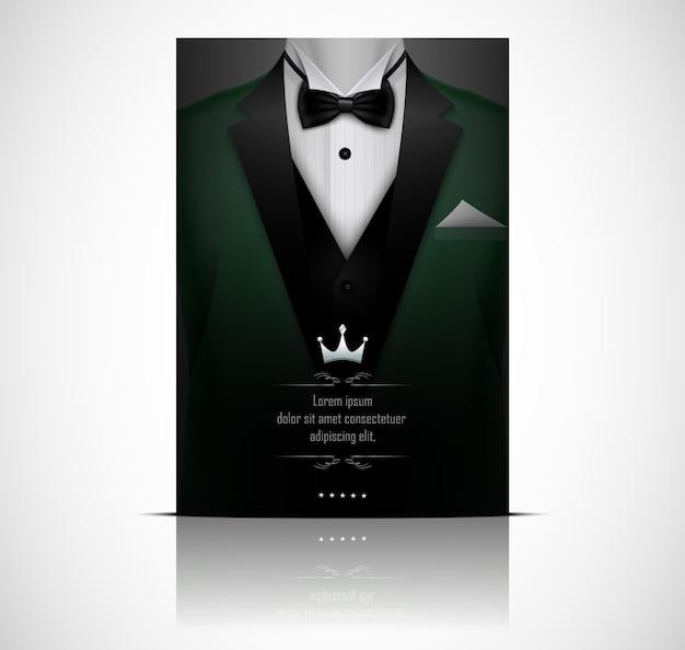 Tarjeta de invitación de lujo con pajarita de esmoquin verde
