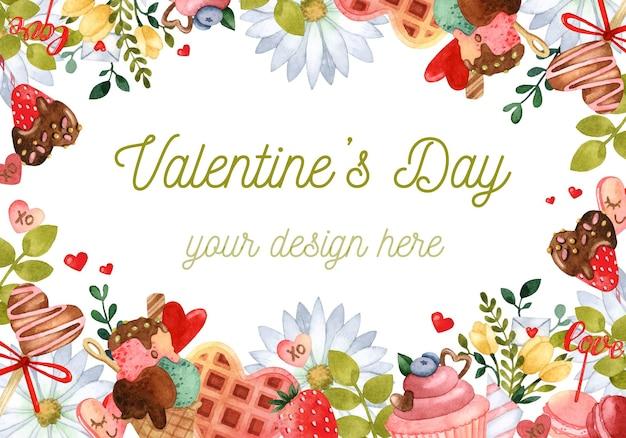 Tarjeta de invitación de marco de acuarela de dulce día de san valentín