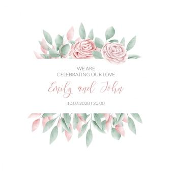 Tarjeta de invitación de marco floral acuarela