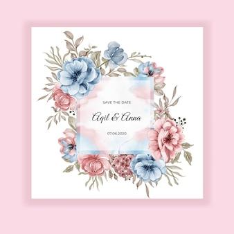 Tarjeta de invitación de marco floral de boda de belleza con flores de color rosa azul