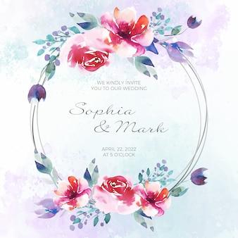 Tarjeta de invitación de marco floral de boda