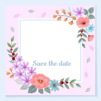 Tarjeta de invitación con marco de flores hermosas