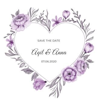 Tarjeta de invitación de marco de guirnalda de flor púrpura clásica