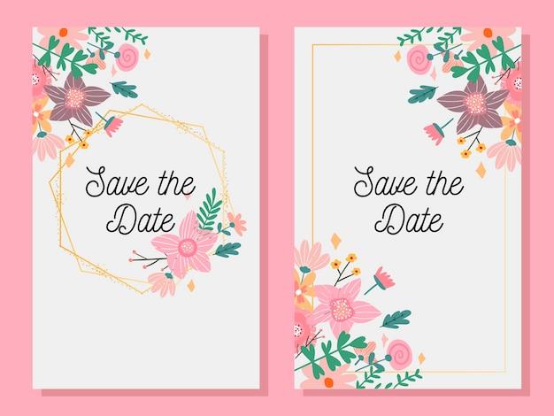 Tarjeta de invitación de matrimonio con signo personalizado y marco de flores sobre madera. ilustración.