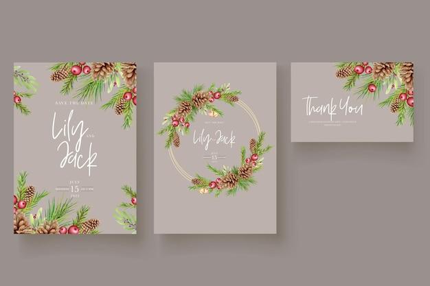 Tarjeta de invitación de navidad floral acuarela