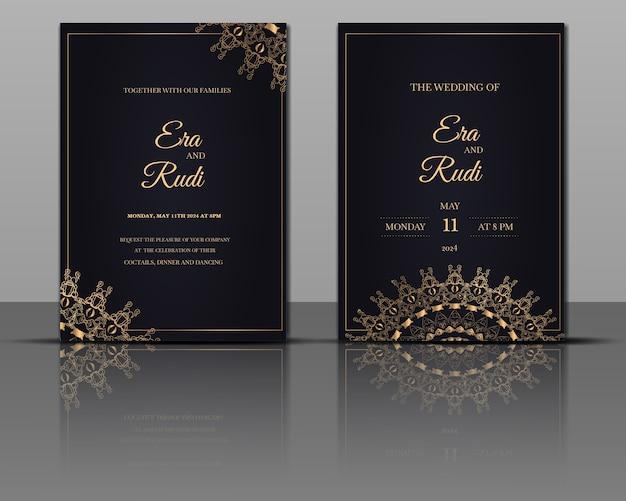 Tarjeta de invitación de oro de mandala de boda de lujo