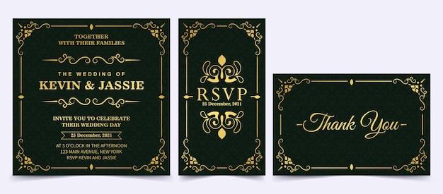 Tarjeta de invitación oscura de lujo con estilo de adorno de marco