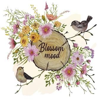 Tarjeta de invitación con pájaros y flores de otoño