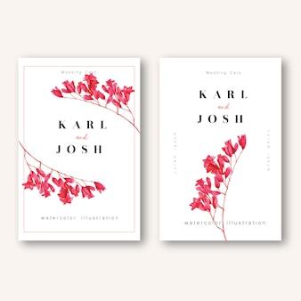Tarjeta de invitación de primavera con flores de arce y hojas. frescura botánica, tarjeta de agradecimiento, flor del día de la madre.