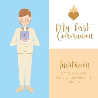 Tarjeta de invitación de primera comunión con niño. ilustración vectorial
