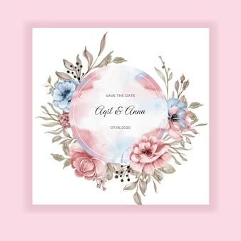 Tarjeta de invitación redonda floral de boda de belleza con flores de color rosa azul