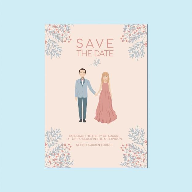 Tarjeta de invitación romántica caprichosa guardar la fecha, linda pareja