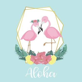 Tarjeta de invitación rosa azul con palma