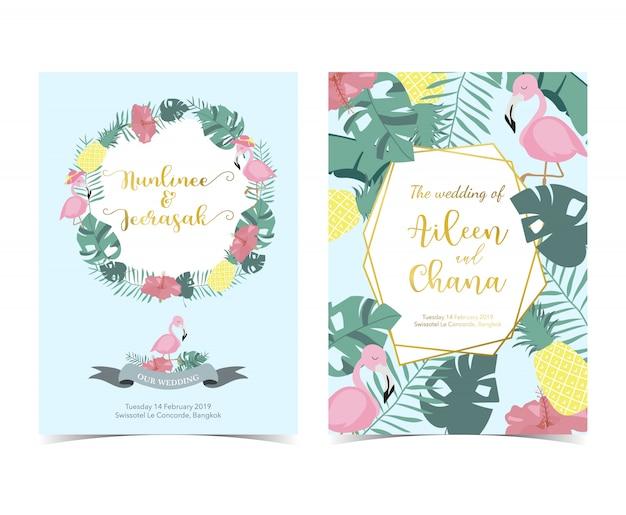 Tarjeta de invitación rosa azul con palmera, piña, hibisco