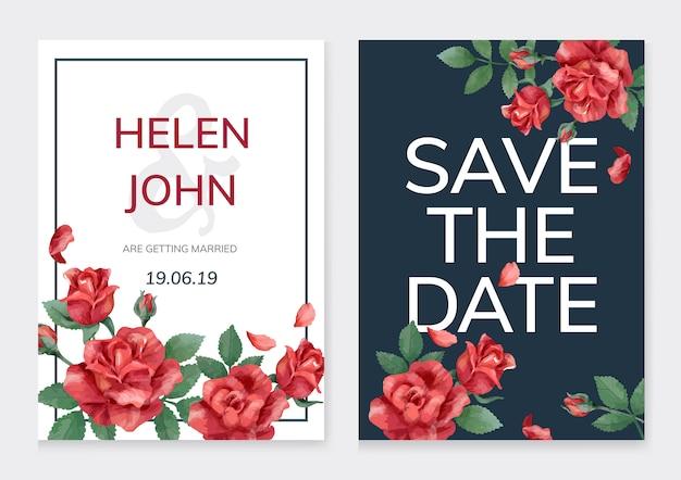 Tarjeta de invitación con rosas y hojas.
