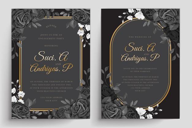Tarjeta de invitación de rosas negras dibujadas a mano
