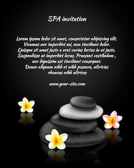 Tarjeta de invitación de spa con piedras y exóticas flores tropicales.