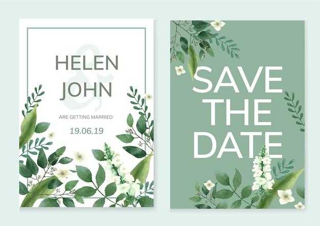 Tarjeta de invitación con un tema verde.