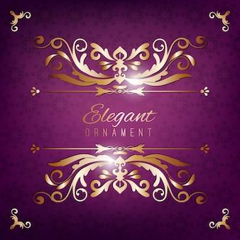 Tarjeta de invitación vintage. fondo de lujo púrpura con marco dorado. plantilla para diseño