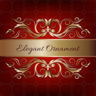 Tarjeta de invitación vintage. fondo de lujo rojo con marco dorado. plantilla para diseño