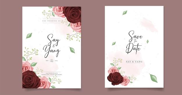 Tarjeta de invitaciones de boda con flor de rosas rojas y rosadas