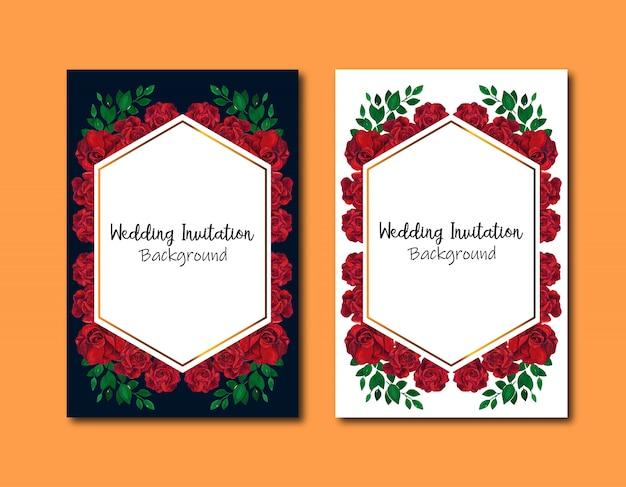 Tarjeta de invitaciones de boda geométrica con rosas rojas