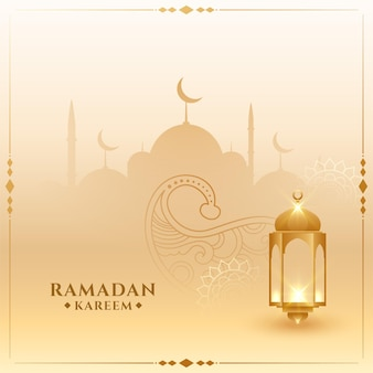 Tarjeta islámica tradicional de ramadan kareem con linterna