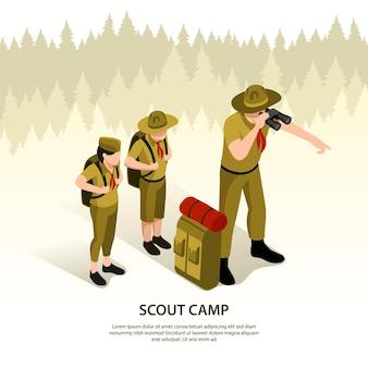 Tarjeta isométrica del campamento de scouts.