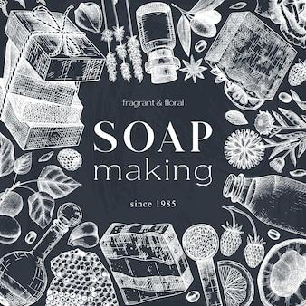Tarjeta de jabón handketched o diseño de invitación en pizarra