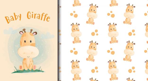 Tarjeta de jirafa bebé de dibujos animados y patrones sin fisuras.