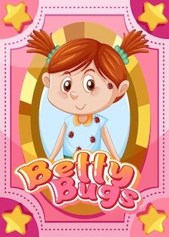 Tarjeta de juego de personajes con la palabra betty bugs