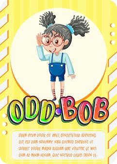 Tarjeta de juego de personajes con la palabra odd bob