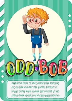 Tarjeta de juego de personajes con la palabra odd-bob