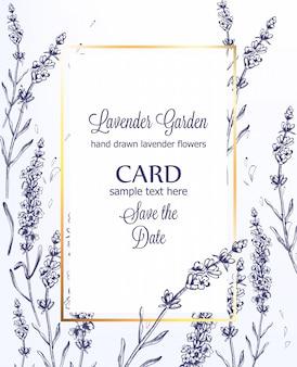 Tarjeta de lavanda vintage line art ceremonia de boda de verano plantilla de invitación