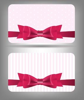 Tarjeta con lazo y cinta. ilustración vectorial