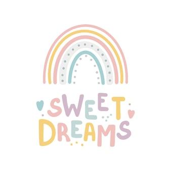 Tarjeta de letras de dulces sueños estilo boho arco iris cita de letras dibujadas a mano en lindo estilo de caligrafía