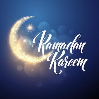 Tarjeta de letras de felicitación de ramadán kareem con luna y estrellas.