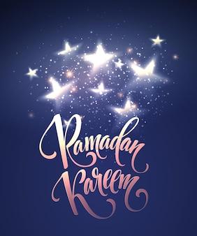 Tarjeta de letras de felicitación de ramadán kareem con luna y estrellas
