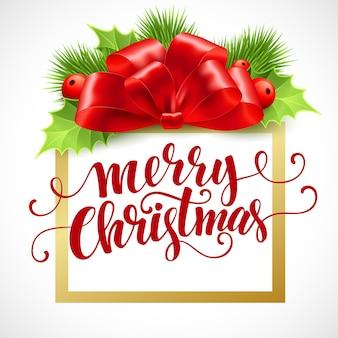 Tarjeta de letras de feliz navidad con acebo. ilustración vectorial eps 10